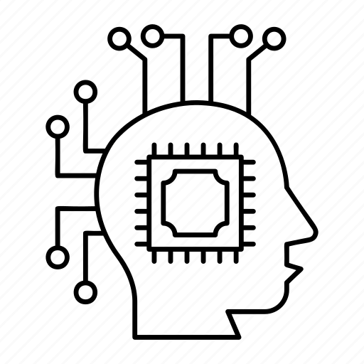 cpu, head, microchip, mind icon