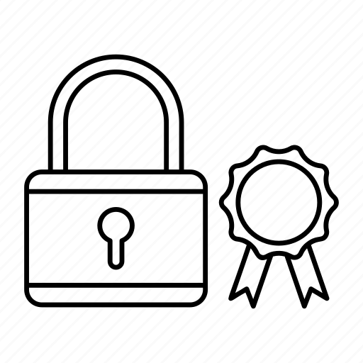 badge, padlock, protection, security icon