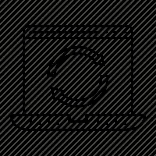 laptop, redo, refresh, reload icon
