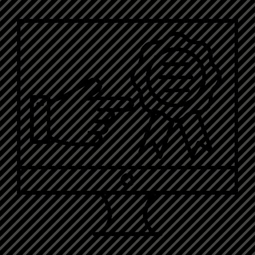 badge, monitor, quality, screen icon