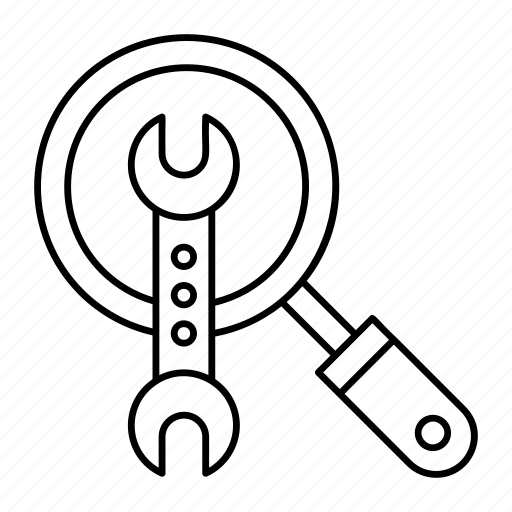 magnifier, repair, search, wrench icon