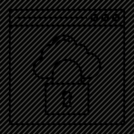 browser, cloud, lock, webpage icon