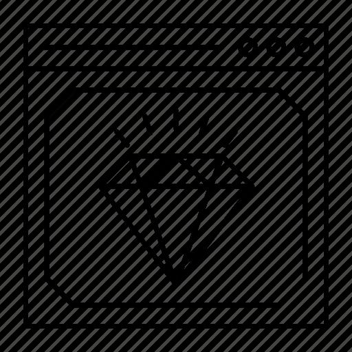 browser, diamond, finance, webpage icon