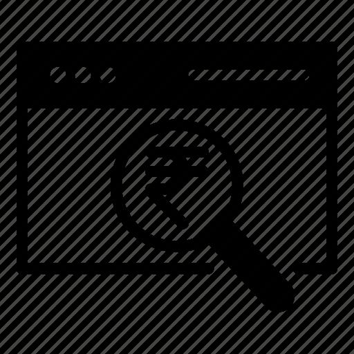 rupee, search, seo, web icon