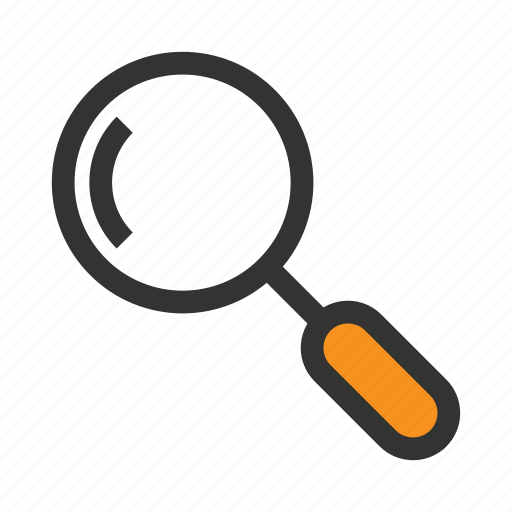 find, lens, loupe, magnifier, office, orange, search icon