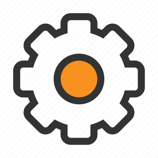Option, parameters, settings, cogwheel, setting, orange, office icon