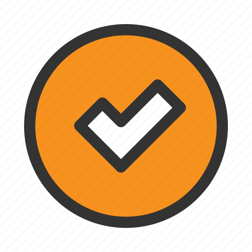 Check, circle, done, mark, office, orange, tick icon - Download on Iconfinder