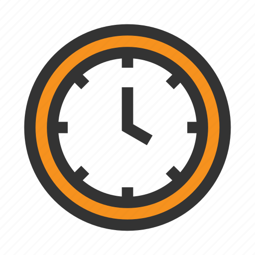 clock, hour, minute, office, orange, time, work icon