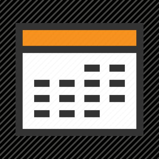 calendar, date, day, month, office, orange, year icon