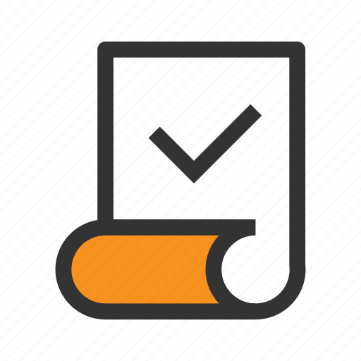 check, list, mark, office, orange, paper, tick icon