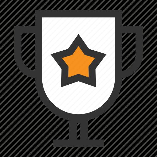 bowl, cup, office, orange, prize, star, win icon