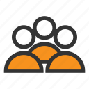 community, group, men, office, orange, people, team icon