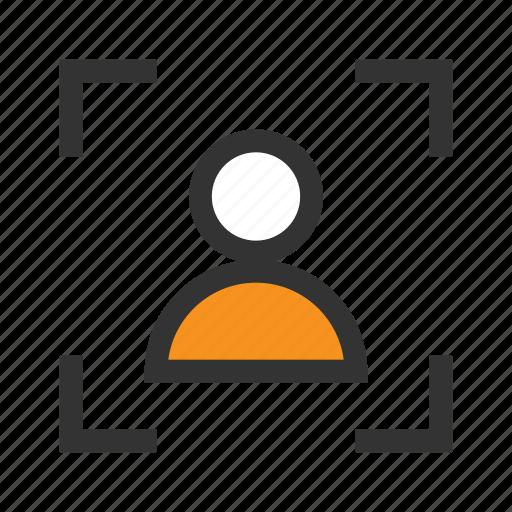 avatar, focus, frame, man, office, orange, person icon