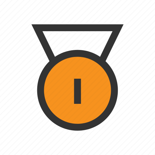 Office, badge, place, win, orange, medal, first icon
