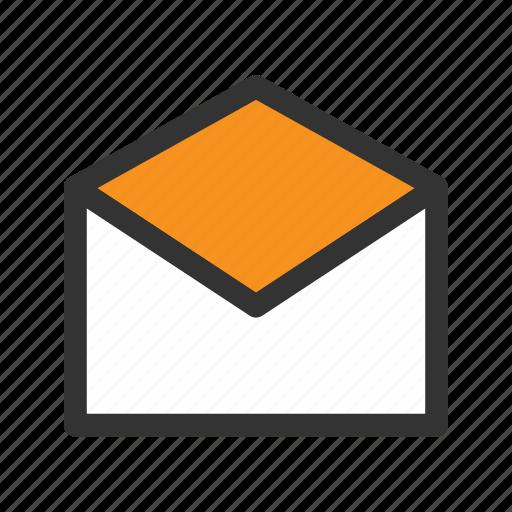 inbox, letter, mail, new, office, open, orange icon