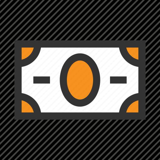 bill, coin, dollar, finance, money, office, orange icon