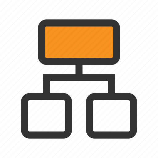 box, hierarchy, line, office, orange, structure, tree icon