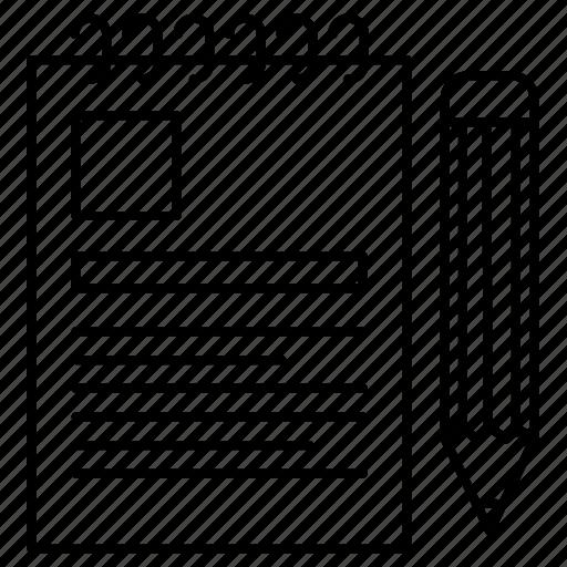 notepad, notes, pencil icon