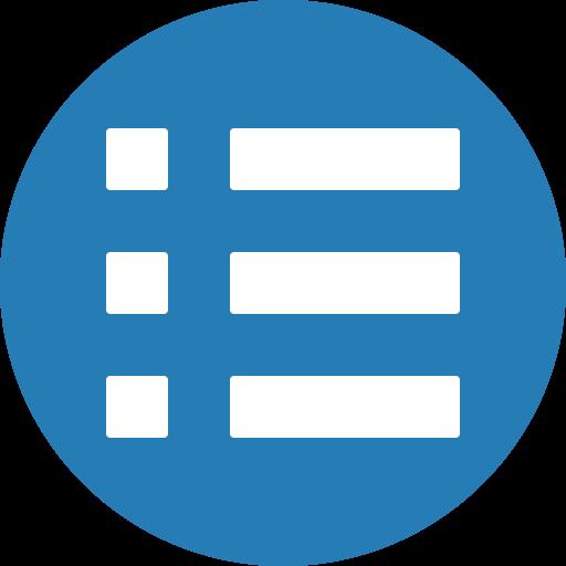 blue, cercle, hamburger, list, mavigation, menu, stack icon