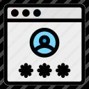 account, browser, desktop, password, profile, user, website icon