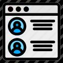 browser, contact, desktop, profile, user, webpage, website icon