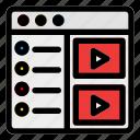 browser, cinema, desktop, film, movie, streaming, website icon