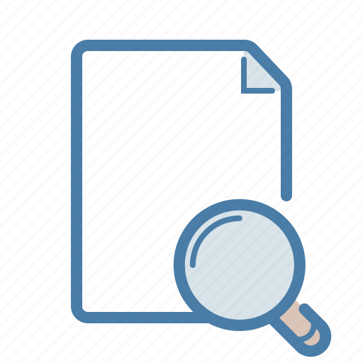 document, explore, file, magnifier, page, search, zoom icon