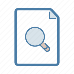 document, file, find, look, magnifier, page, search icon