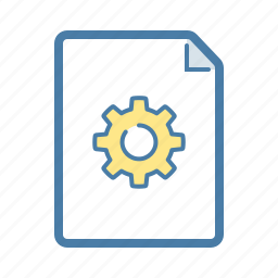 configuration, document, file, gear, option, page, settings icon