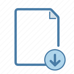 arrow, document, down, download, file, page, share icon