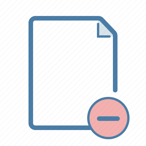 delete, document, file, minus, page, remove, substruct icon