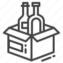 bottle, box, cardboard, design, packaging icon