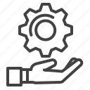 cogwheel, gear, hand, solution