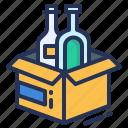 bottle, box, cardboard, packaging design icon
