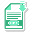 cer, document, extension, type icon