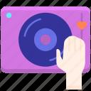 dj, hand, instrument, music, speaker icon