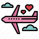 airplane, honeymoon, transportation, trip icon