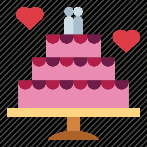 bakery, cake, love, romance, wedding icon