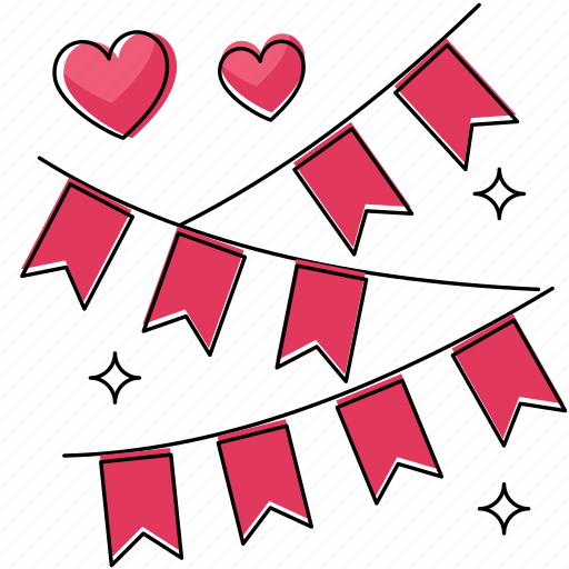 decoration, heart, love, marriage, party, wedding icon