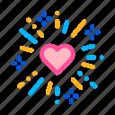 firework, heart, thin, wedding icon