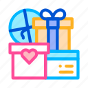 couple, married, presents, wedding icon