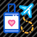 airplane, honeymoon, trip, valise icon