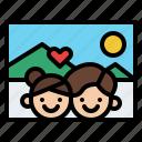 couple, travel, photo, love icon