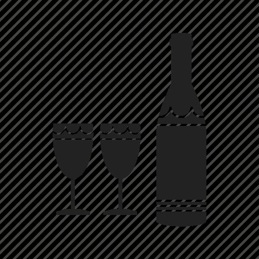 beverage, bottle, drink, glass, goblet, wine icon