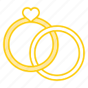 anniversary, engagement, heart, ring, rings, valentine, wedding icon