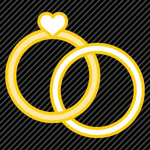 anniversary, engagement, heart, ring, rings, valentine, wedding icon