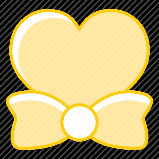 bow, heart, love, tie icon