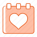 calendar, day, event, heart, love icon