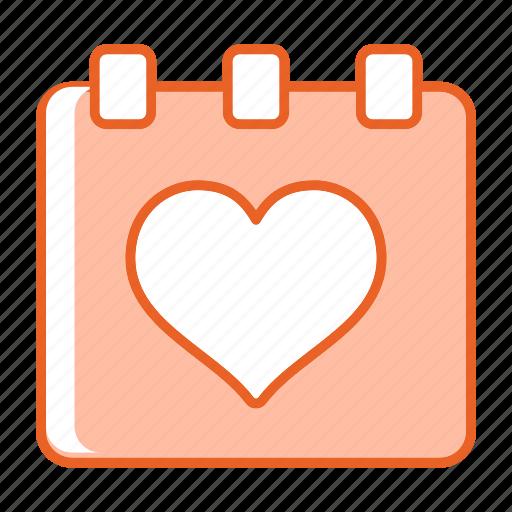 calendar, day, event, heart, love icon