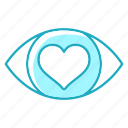 eye, heartlove, love, vision, wedding icon